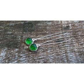 Handmade Recycled Reclaimed Vintage Emerald Green Beer Bottle Long Drop Color Dot Earrings (United States)