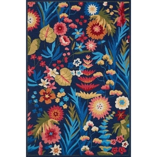 """Hand-hooked Floral Navy/ Multi Transitional Rug - 2'3"""" x 3'9"""""""