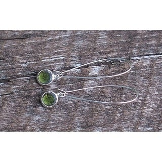 Handmade Recycled Reclaimed Early 1900's Olive Green Wine Bottle Long Drop Color Dot Earrings (United States)