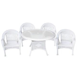 Outdoor/Indoor Tempered Glass Resin Wicker 5 Piece Round Dining Set
