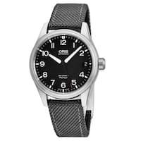 Oris Men's 01 751 7697 4164-07 5 20 17FC 'Big Crown' Black Dial Grey Fabric Strap Swiss Automatic Watch