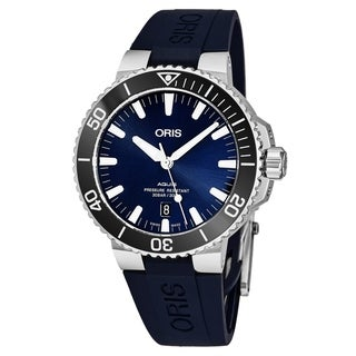Oris Men's 01 733 7730 4135-07 4 24 65EB 'Aquis Date' Blue Dial Blue Rubber Strap Swiss Automatic Watch