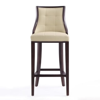 Ceets Fifth Avenue Brown/ Cream/ Off-white Wood and Faux Leather Upholstered Bar Stool