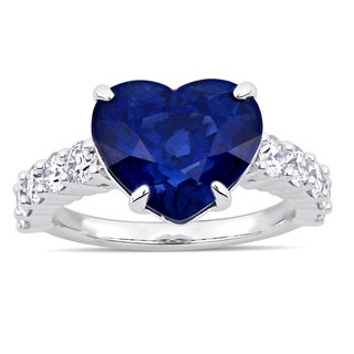 Miadora Signature Collection 14k White Gold Heart-Cut Blue Sapphire and 1-1/10ct TDW Diamond Engagement Ring