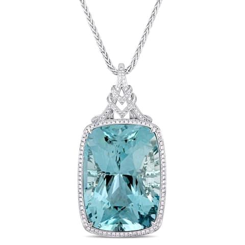 Miadora 14k White Gold 146 1/3ct TGW Natural Sky Blue Topaz and 3 1/2ct TDW Diamond Statement Necklace
