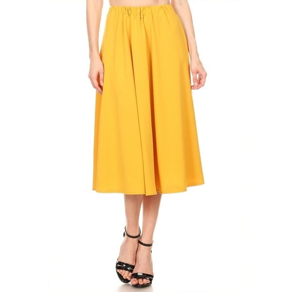 Women's Solid Ruffled Mid-Length Skirt. Opens flyout.