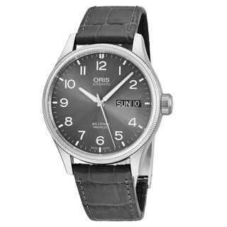 Oris Men's 01 752 7698 4063-07 5 22 06FC 'Big Crown Pro Pilot' Grey Dial Grey Leather Strap Day Date Swiss Automatic Watch