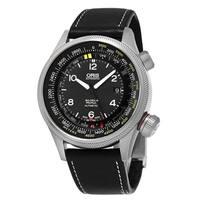 Oris Men's 01 733 7705 4164-Set 5 23 19FC 'Big Crown' Black Dial Green Fabric Strap Altimeter Swiss Automatic Watch