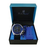 Fashion Sporty Gold Blue Oversized Screen Crown Designed Replaceable Band Watch - black