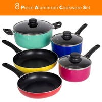 8 Piece Rainbow Nonstick Cookware Set Kitchen Pots Sauce Fry Pan With Glass Lid