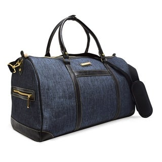Adrienne Vittadini Two-Tone Nylon 22 Inch Duffel-Denim Blue