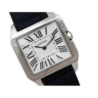 Pre-owned Cartier 18k White Gold Santos Dumont Watch with Silver Dial