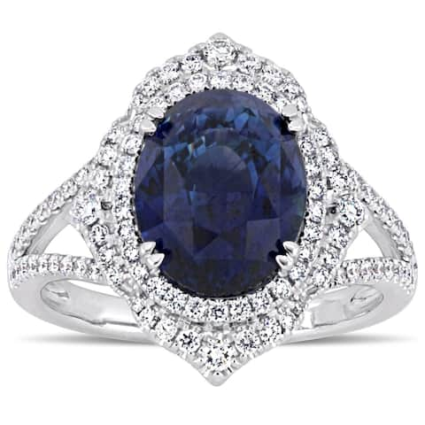 Miadora Signature Collection 14k White Gold Natural Untreated Sapphire and 3/5ct TDW Diamond Halo Split Shank Engagement Ring