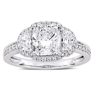Miadora Signature Collection 14k White Gold 2 1/2ct TDW Half-Moon Cushion and Round-Cut Halo Engagement Ring
