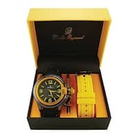 Fashion Sporty black Yellow Oversized Screen Designed Replaceable Band Watch - N/A