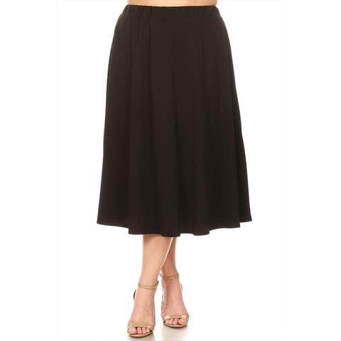 Women's Plus Size Solid Ruffled Mid-Length Skirt