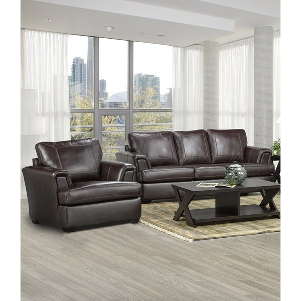 Duke Italian Leather Sofa and Chair Set