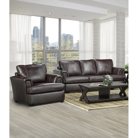 Duke Italian Leather Sofa and Chair Set