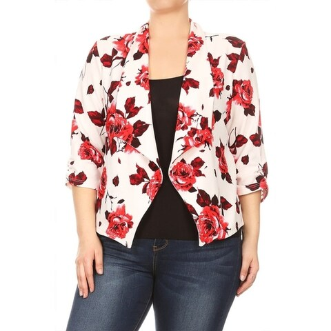 Women's Plus Size Floral Pattern Blazer Jacket