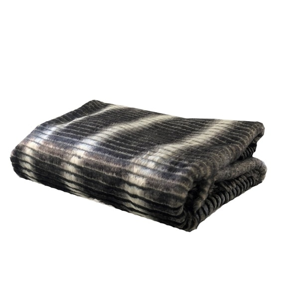 Plutus Gray and Taupe Faux Fur Luxury Blanket