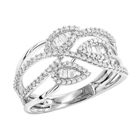 Ladies Unique 14K Gold Diamond Leaf Ring 0.6ctw by Luxurman