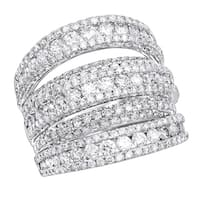 Ladies 14K Gold Oversized Fashion Diamond Band Cocktail Ring 3.75ctw G-H Color by Luxurman