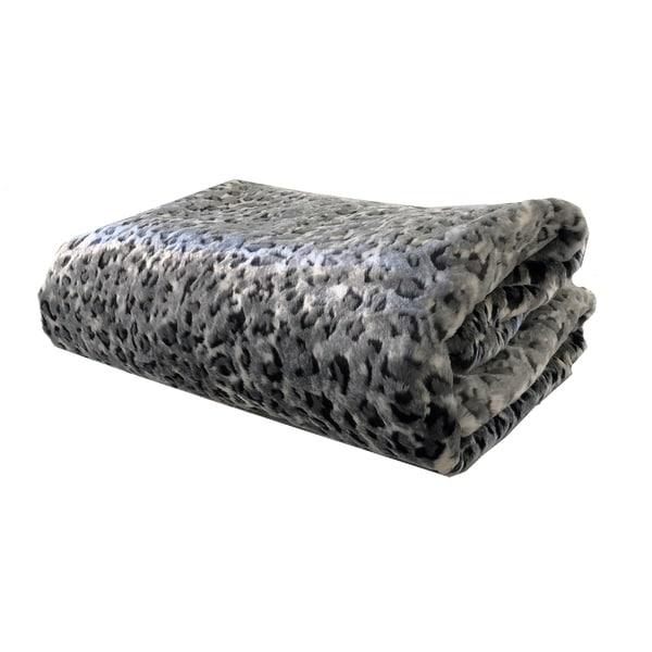 Plutus Snow Leopard Faux Fur Gray Luxury Blanket