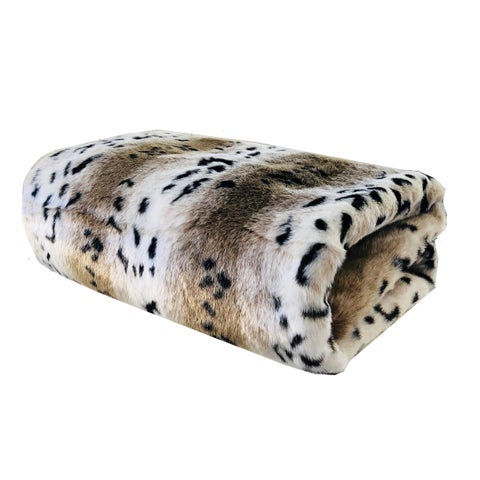 Plutus Snow Lynx Faux Fur Luxury Blanket