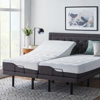 LUCID Comfort Collection 12-inch Queen-size Memory Foam Hybrid Mattress with L300 Adjustable Bed Base