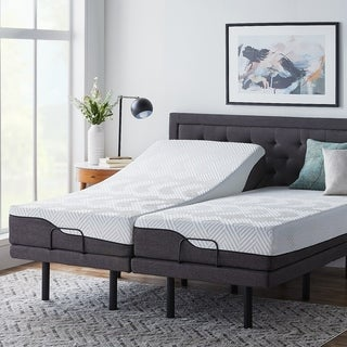 LUCID Comfort Collection 10-inch Queen-size Memory Foam Hybrid Mattress with L300 Adjustable Bed Base