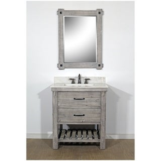 """30""""Rustic Solid Fir Single Sink Vanity in Grey-Driftwood Finish with Marble Top-No Faucet"""