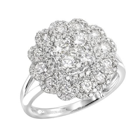 Unique Ladies 14k Gold Diamond Cluster Flower Ring 1.5ctw G-H Color by Luxurman