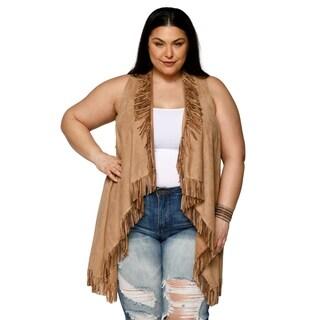 Xehar Womens Plus Size Sexy Sleeveless Open Front Boho Fringe Vest