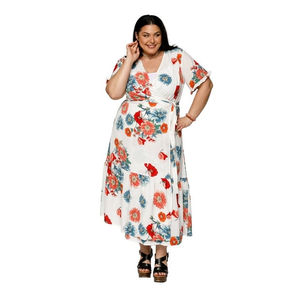 8a5aeeef7a3ce Shop Xehar Womens Plus Size Casual V-Neck Floral Wrap Maxi Midi ...