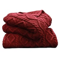 Cable Knit Throw, 50X60 Red