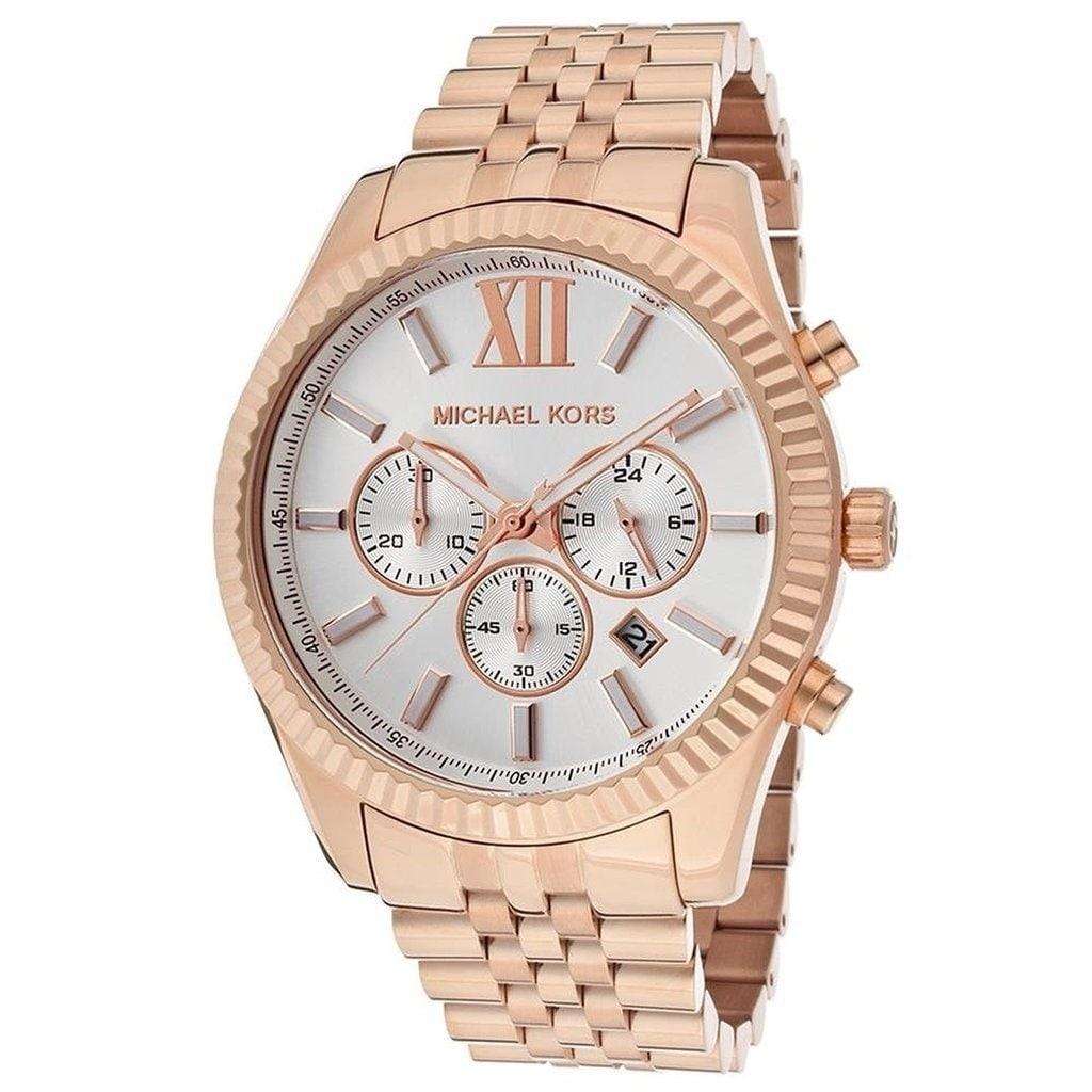 Michael Kors Mens MK8313 Lexington Chronograph Rose-Tone Stainless Steel Watch