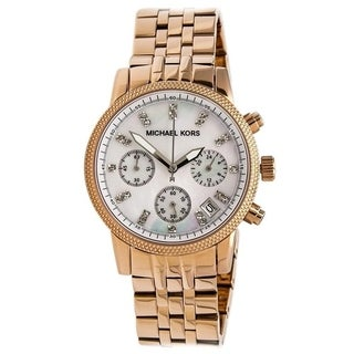 Michael Kors Women's MK5026 Chronograph Crystal Rose-Tone Stainless Steel Watch