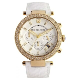 Michael Kors Women's 'Parker' Chronograph Crystal White Leather Watch