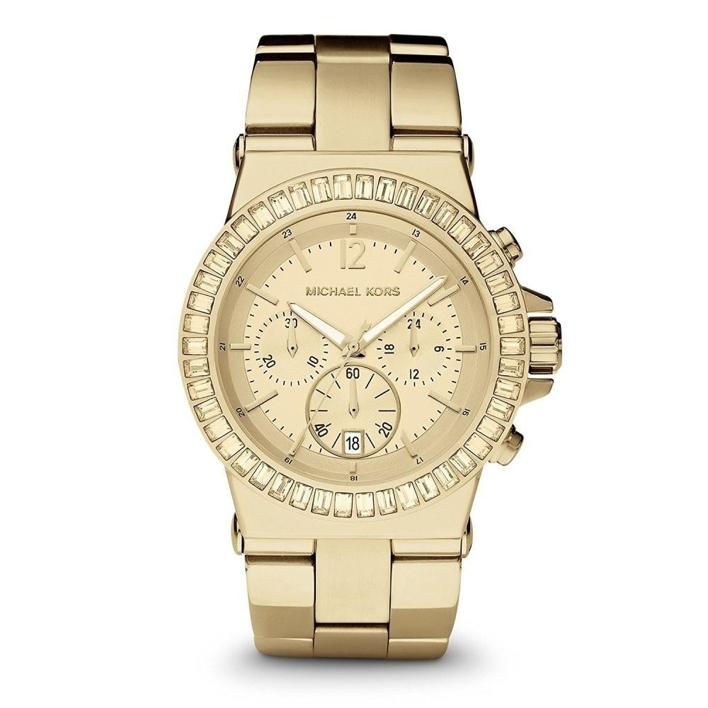 Michael Kors Womens MK5861 Dylan Chronograph Crystal Gold-Tone Stainless Steel Watch