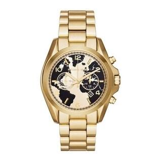 Michael Kors Women's MK6272 'Bradshaw Watch Hunger Stop' Chronograph World Map Gold-Tone Stainless Steel Watch