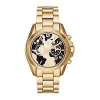 Michael Kors Women's  'Bradshaw Watch Hunger Stop' Chronograph World Map Gold-Tone Stainless Steel Watch