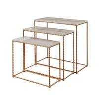 StyleCraft Faux Marble Nested Petite Console Set - Gold Powder Coated Frame Base