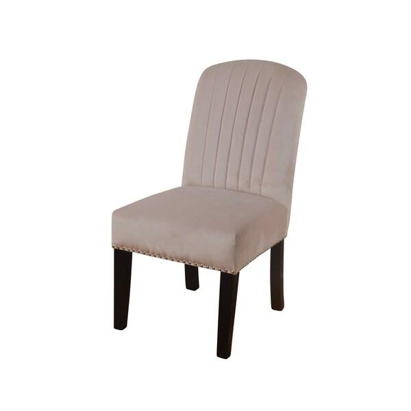 Shop Channel Back Parson Blush Velvet Dining Chair Dark Espresso