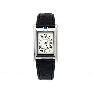 Pre-owned Small Cartier Stainless Steel Basculante Watch w/Silver Dial