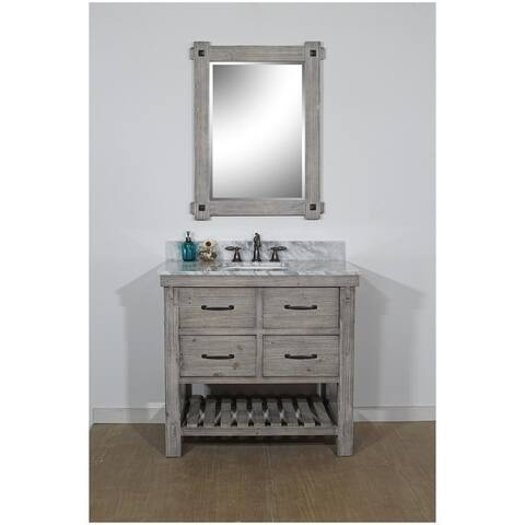 """36""""Rustic Solid Fir Single Sink Vanity in Grey-Driftwood Finish with Marble Top-No Faucet"""