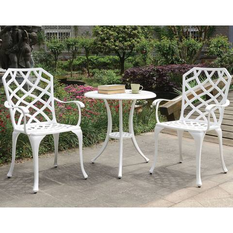 Furniture of America Linz Trellis Aluminum 3-piece Bistro Table Set