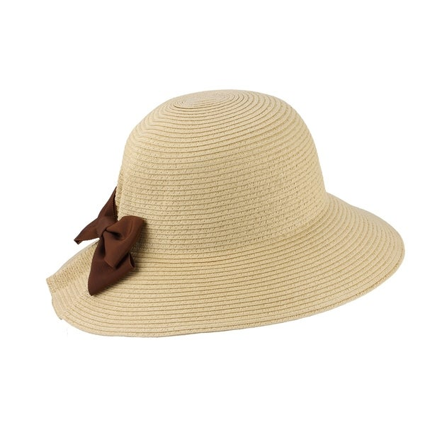 a5fe854d89 Ana - 100% Paper Straw Wide Brim Cloche Style Sun Hat Sun Styles - AH-067-1-BE  - Free Shipping On Orders Over  45 - Overstock.com - 26566783