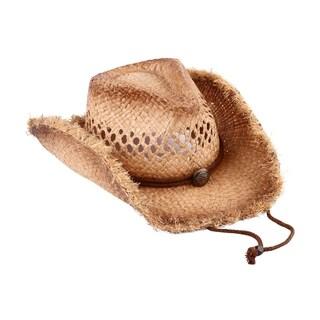 Fay - 100% Natural Grass Frayed Brim Cowboy Drifter Style Hat Old Stone - AH-045-NA