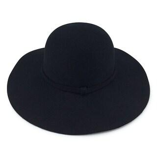 Abigail - 100% Wool Felt Round Top Wide Brim Style Felt Hat Alpas - MF-024-BK