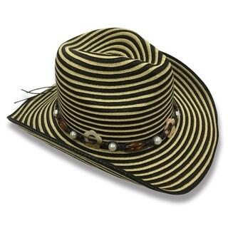 Dora - 100% Paper Straw Cowboy Drifter Style Hat Old Stone - AH-079-1-DBE/BK
